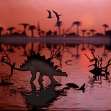 Stegosaur at sunset 3D R