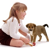 Girl and puppy