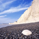 Chalk boulder and cliffs
