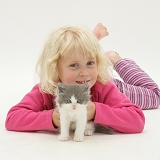 Girl with grey-and-white kitten