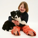Girl with Border Collie pup