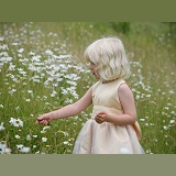 Girl in field of Ox-eye Daisies