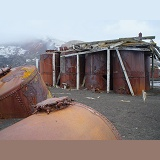 Rusting remains of an old whaling station
