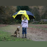 Girl with dog and umbrella